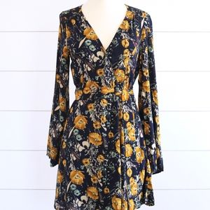 Navy/Yellow Floral Dress